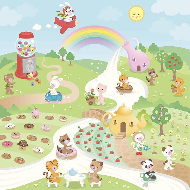 かわいいカワイイ甘いお菓子のパラダイスと動物 - 漫画の子供たち点のイラスト素材/クリップアート素材/マンガ素材/アイコン素材