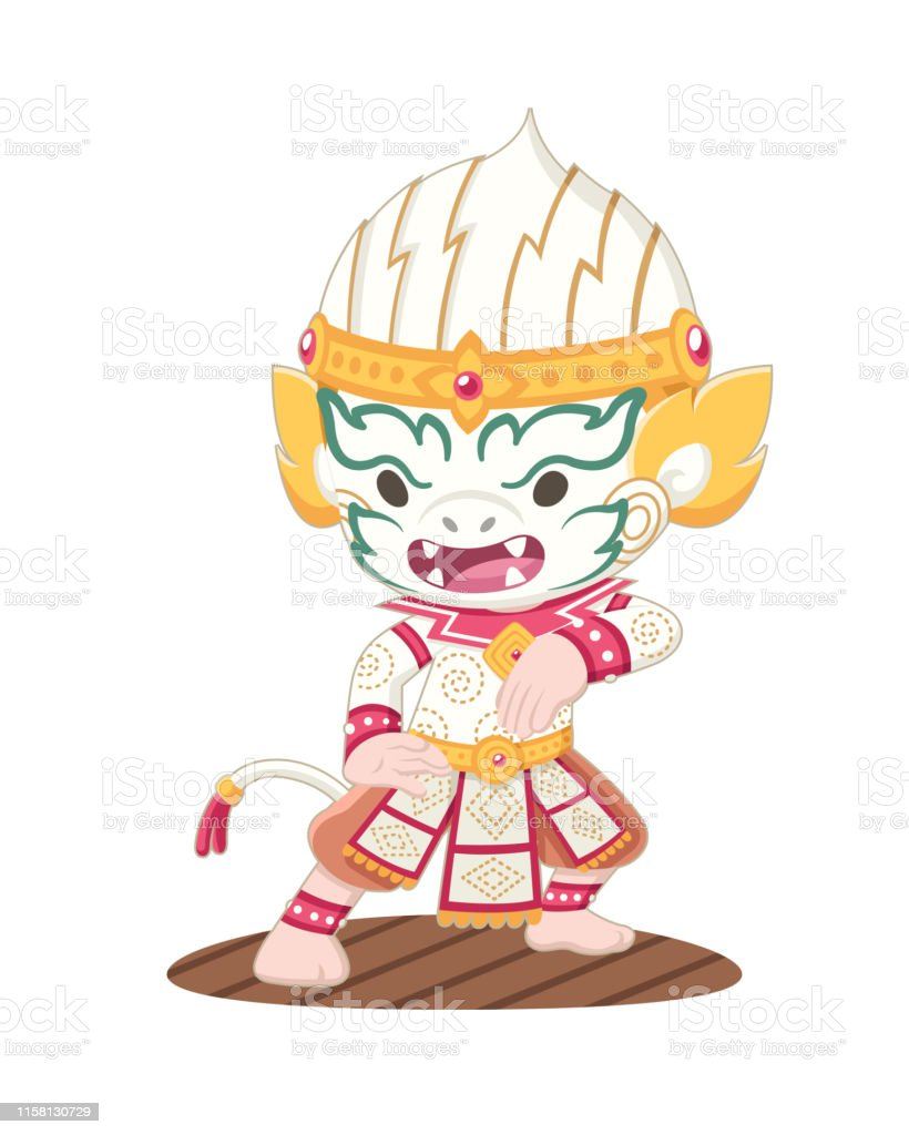 Cute Khon Thai Hanuman Illustration Stock Illustration Download Image Now Istock