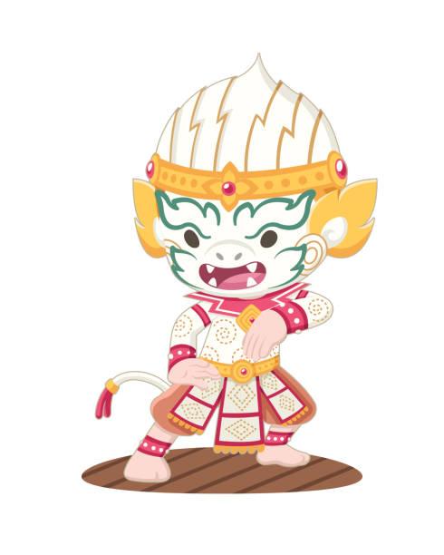 süße khon thai hanuman illustration - ayutthaya stock-grafiken, -clipart, -cartoons und -symbole