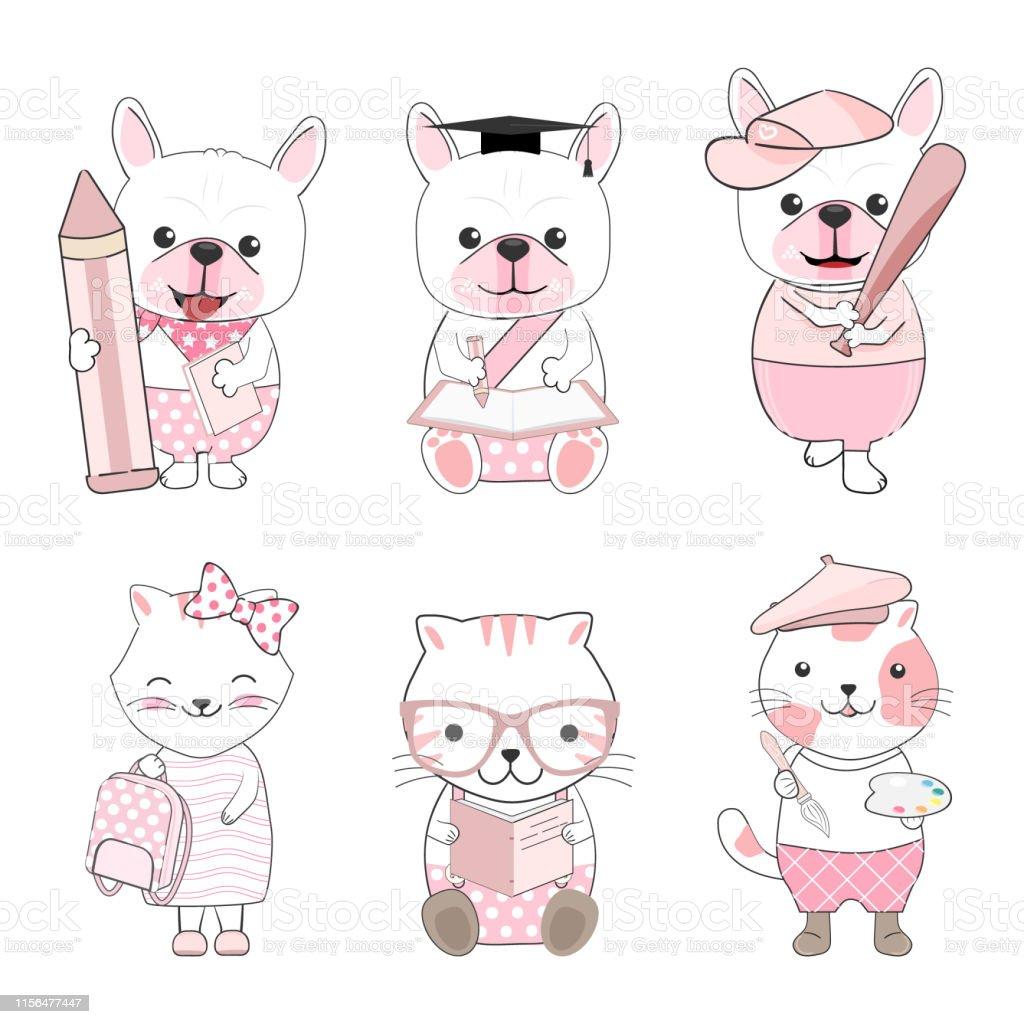 Cute kid animals cartoon back to school set illustration
