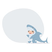 cute kid characters in shark costume with banner