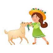 Cute kid girl in green dress with hat give fresh carrot to domestic goat. Cartoon style. Vector illustration on white background