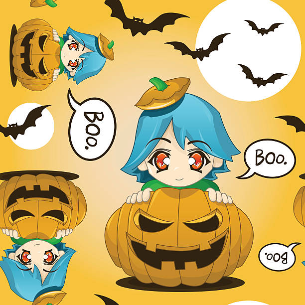 Cute Kid In A Pumpkin Seamless Pattern vector art illustration