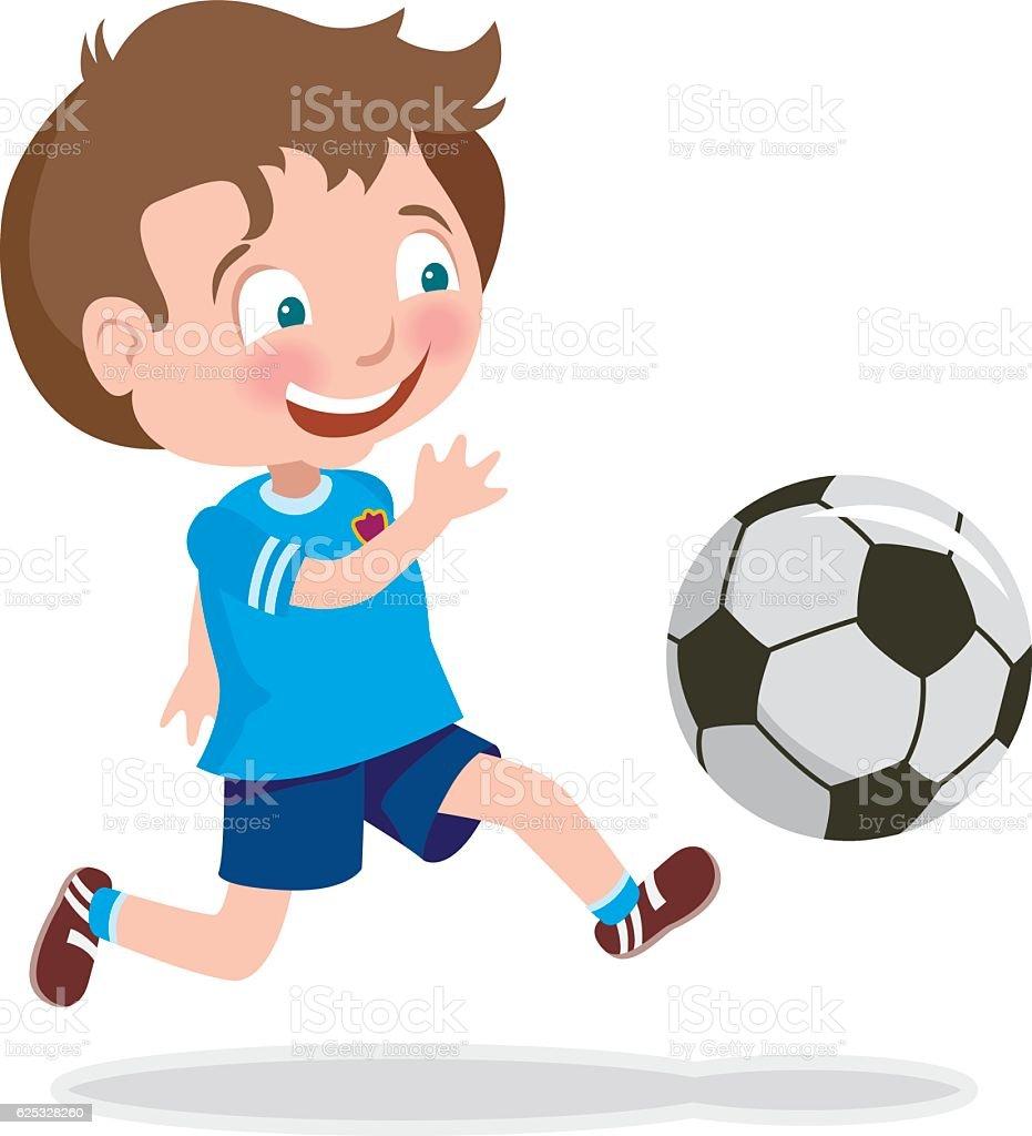 Cute Kid Playing Soccer vector art illustration