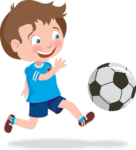 ilustraciones, imágenes clip art, dibujos animados e iconos de stock de cute kid playing soccer - cabello castaño