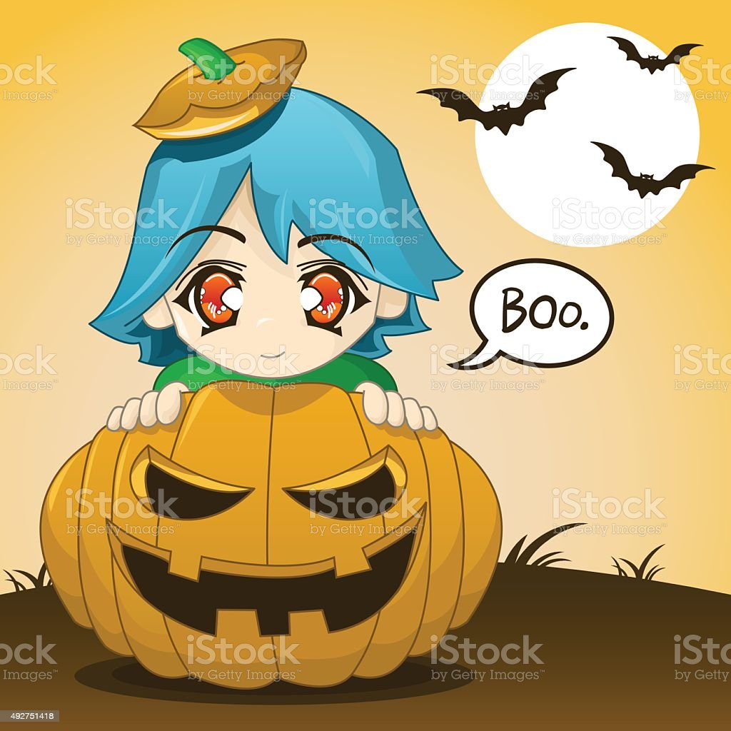 Cute Kid Popping Out Of Pumpkin vector art illustration