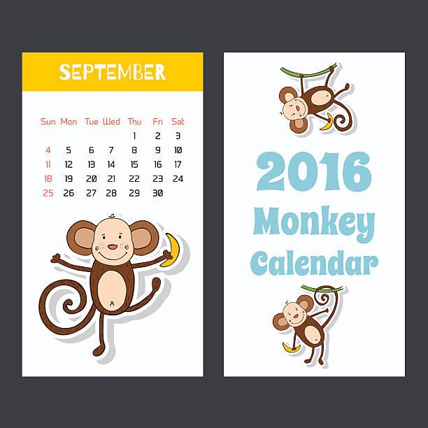 かわいい子供 2016 カレンダーページにちょっとしたモンキーます。9 月。 - 野生動物のカレンダー点のイラスト素材/クリップアート素材/マンガ素材/アイコン素材