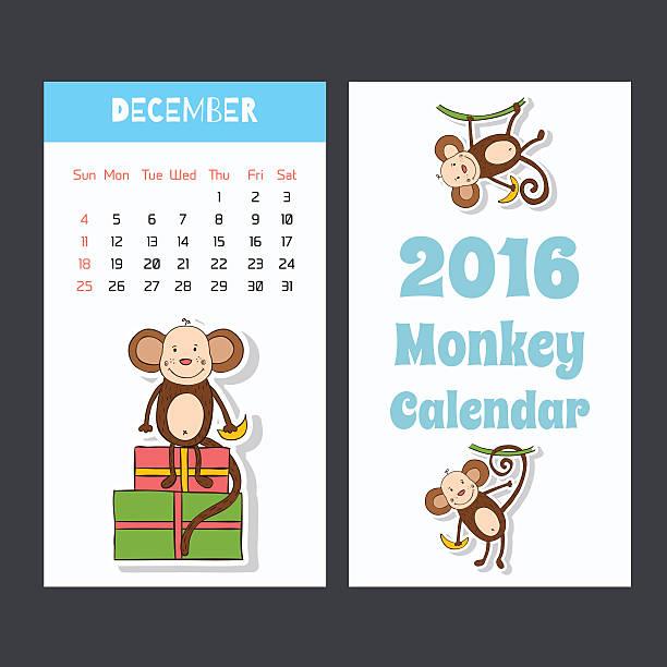 かわいい子供 2016 年のカレンダーページ、猿ます。12 月。 - 野生動物のカレンダー点のイラスト素材/クリップアート素材/マンガ素材/アイコン素材