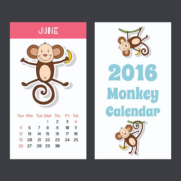 かわいい子供 2016 年のカレンダーページ、猿ます。6 月です。 - 野生動物のカレンダー点のイラスト素材/クリップアート素材/マンガ素材/アイコン素材