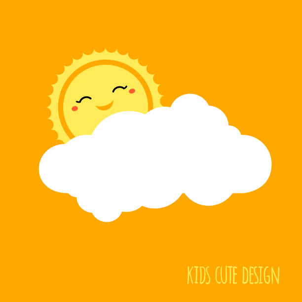 illustrazioni stock, clip art, cartoni animati e icone di tendenza di cute kids background design. weather forecast icon. sun with smile and cloud shape. sunshine vector can be used for kids camping logo, kids menu, kids party poster design, kids room sign, kids fashion - mattina