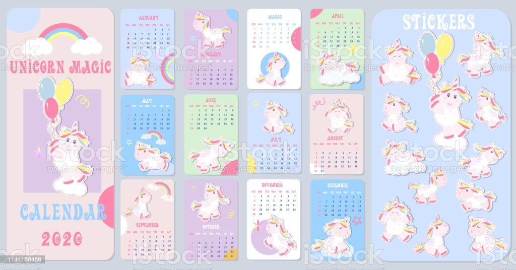 Unicorn Calendar 2020 Cute Kids Calendar 2020 With Little Unicorns Kids Calendar Great