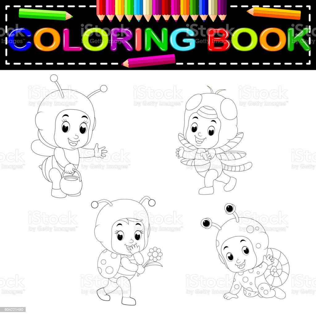 şirin çocuklar çizgi Film Boyama Kitabı Giyen Hayvan Kostüm Stok