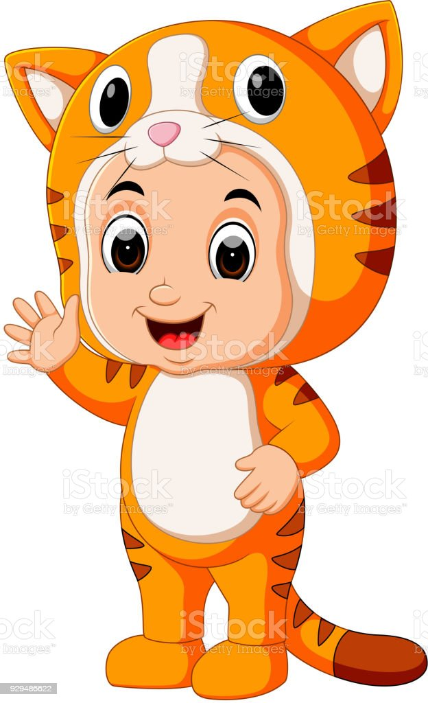 Cute kids cartoon wearing cat costume royalty-free cute kids cartoon wearing cat costume stock illustration - download image now