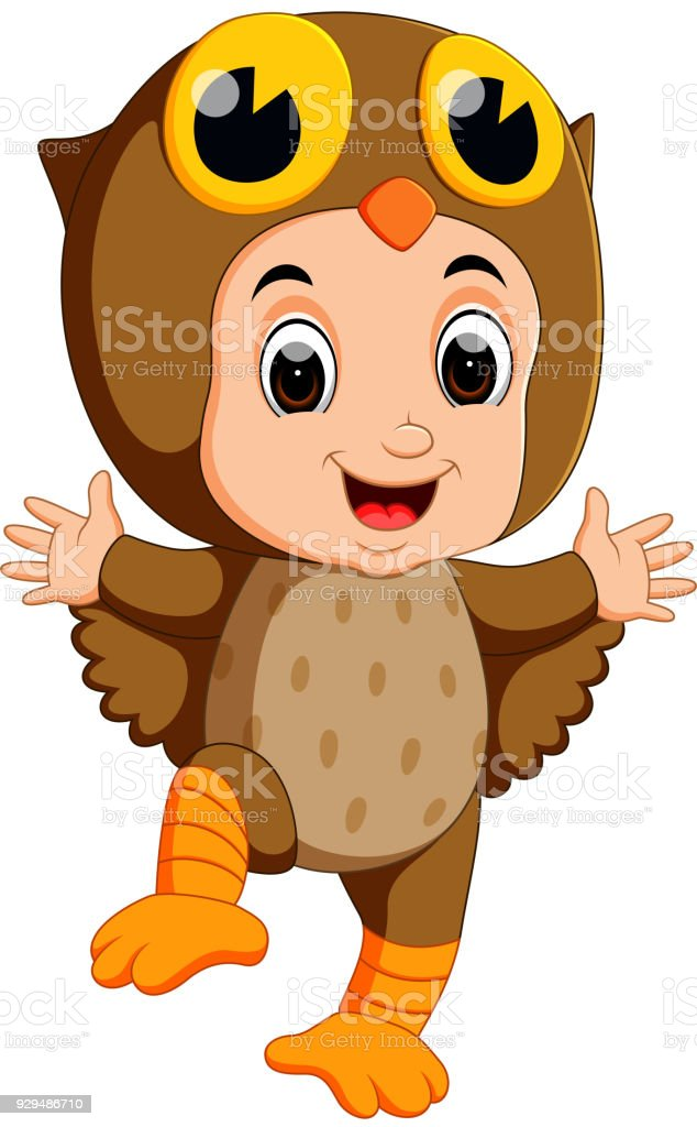 Cute kids cartoon wearing owl bird costume stock vector art more cute kids cartoon wearing owl bird costume royalty free cute kids cartoon wearing owl bird voltagebd Images