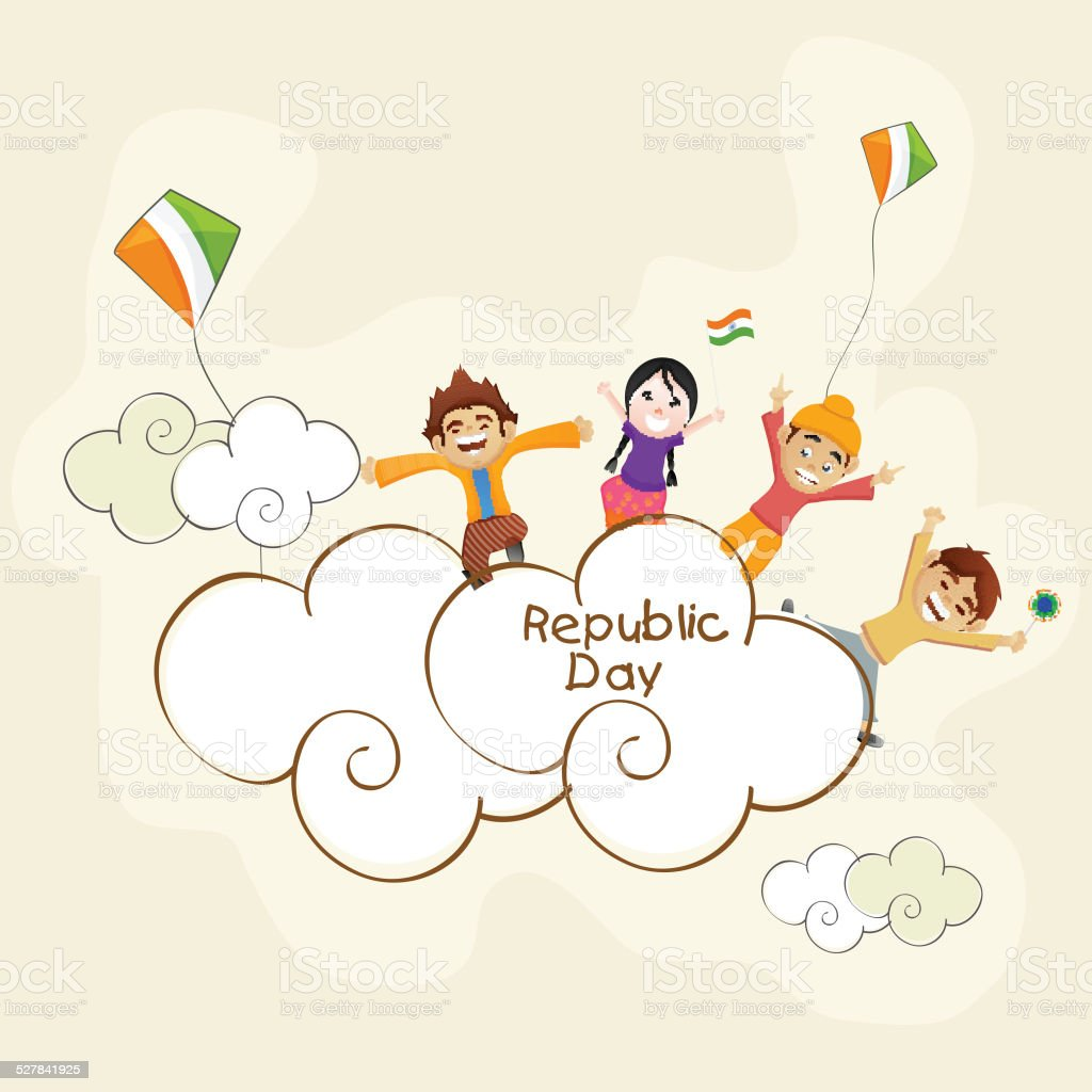 Cute Kids Celebrating Indian Republic Day Stock Vector Art More