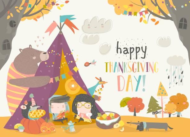 bildbanksillustrationer, clip art samt tecknat material och ikoner med söta barn firar thanksgiving day med djur i en tältkåta - hund skog