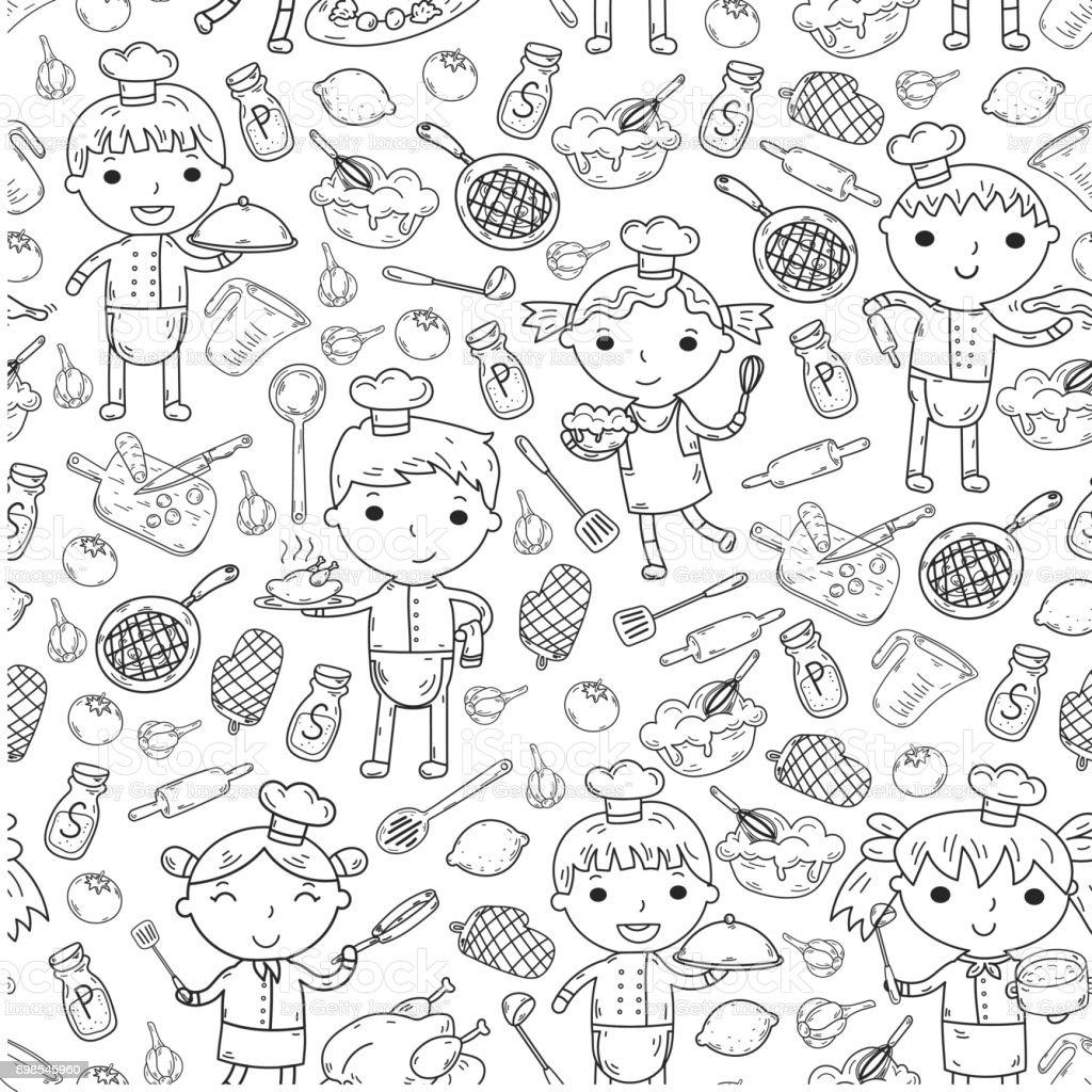 Niedliche Kinderchef Auf Weißem Hintergrund Kinder Kochen Küche