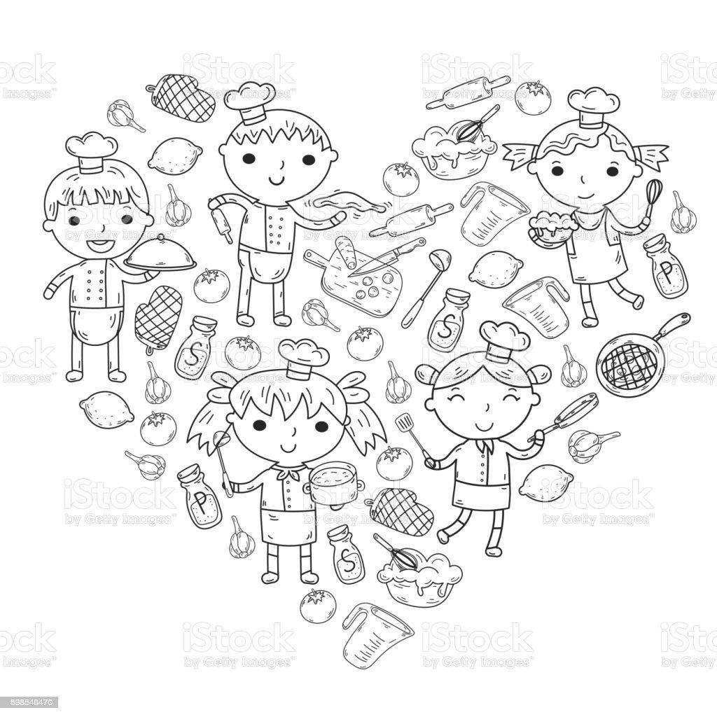 Ausmalbilder Küche Zum Ausdrucken: Malvorlage Kinde Kochen