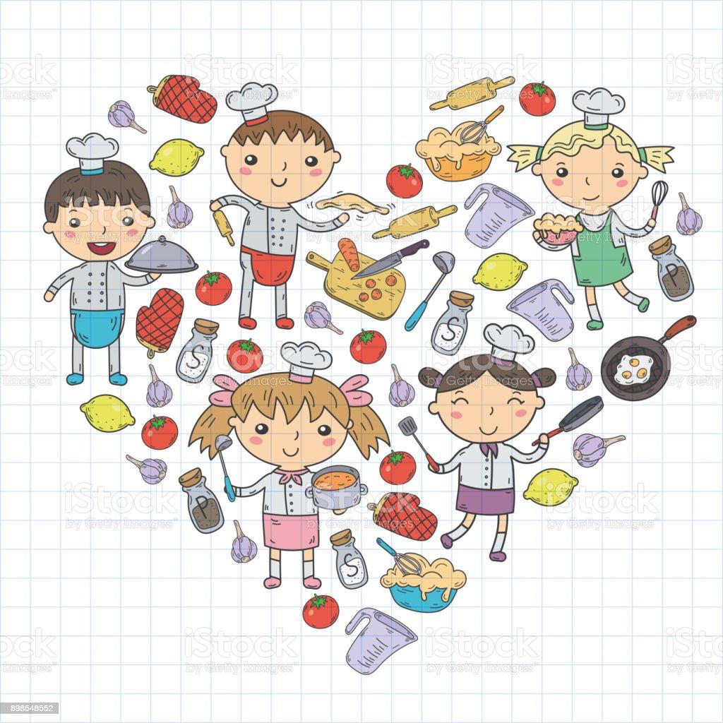 Cute kids chef on white background children cooking kitchen children cooking lessons stock - Kawaii kochen ...