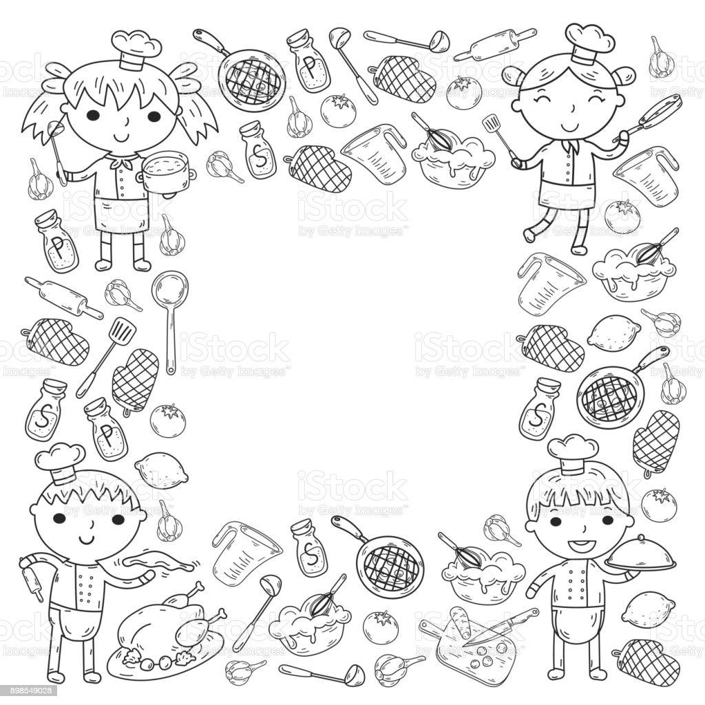 Kleurplaten Koken En Eten.Cute Kids Chef Op Witte Achtergrond Kinderen Koken Keuken Kinderen