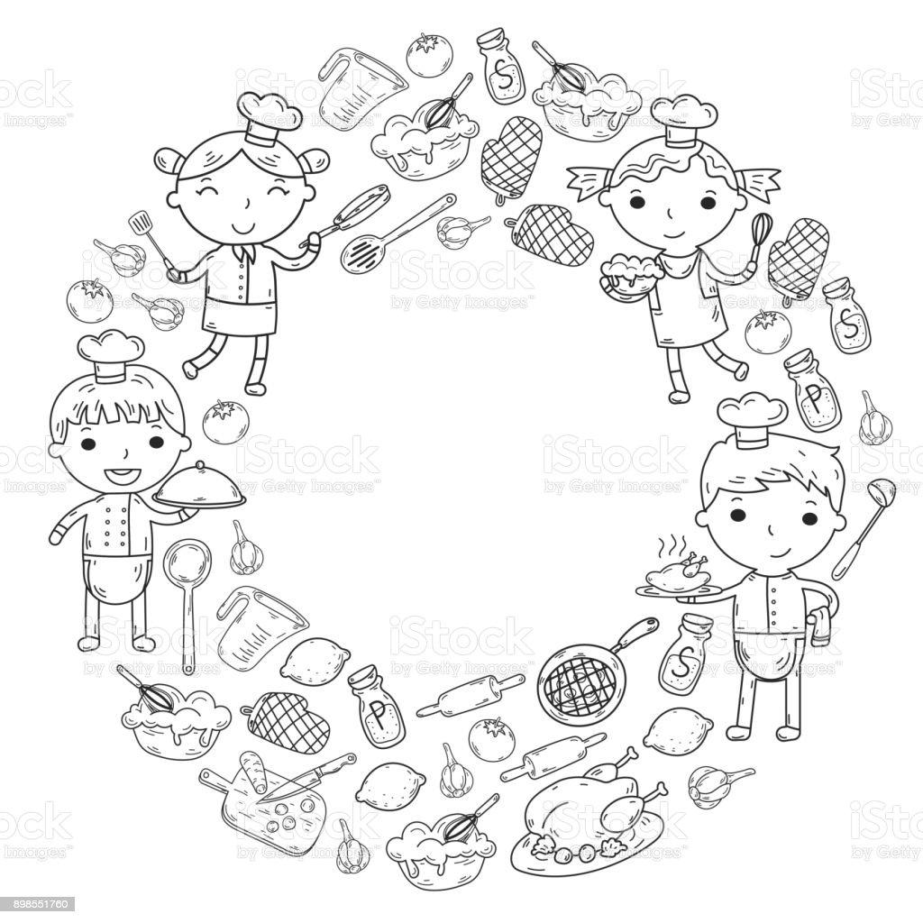 Sevimli Cocuklar Sef Beyaz Arka Planda Cocuk Mutfak Cocuk Yemek