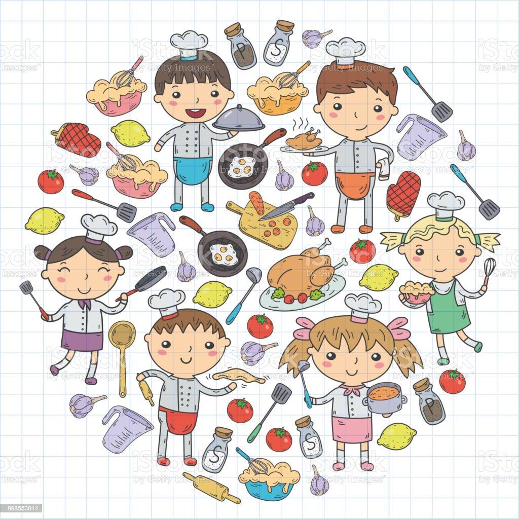 Cute Enfants Chef Sur Fond Blanc Enfants Cuisine Cuisine Enfants