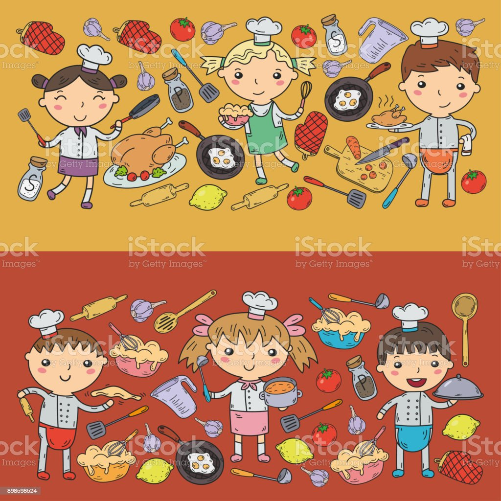 Cute Kids Chef On White Background Children Cooking Kitchen Lessons Royalty Free