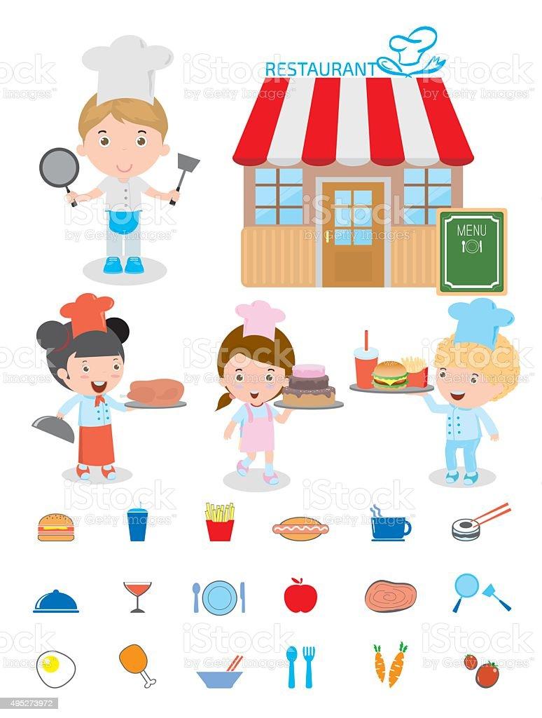Słodkie Dzieci Szef Kuchni Gotowanie Dzieci Dzieci Dzieci W Kuchni