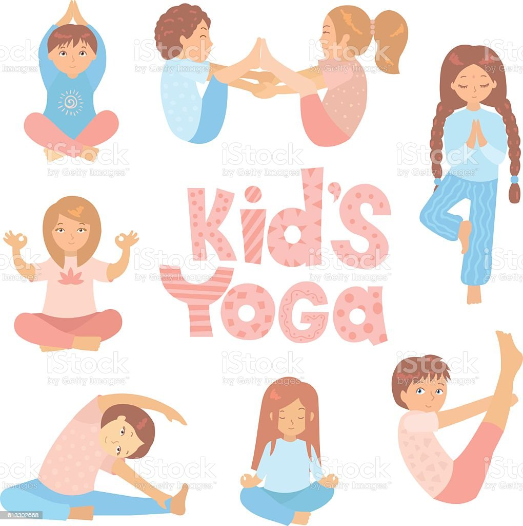 Cute Kids Doing Yoga Exercises Stock Illustration - Download