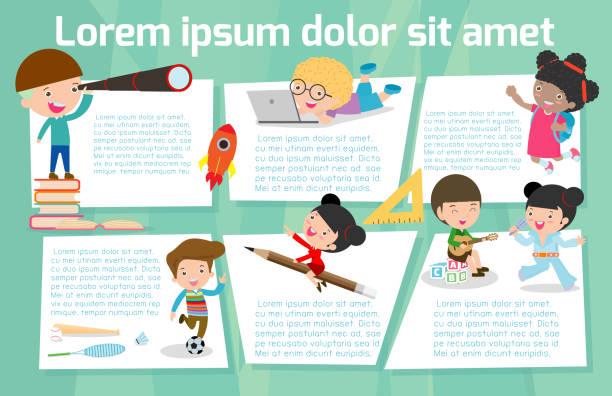 illustrations, cliparts, dessins animés et icônes de éducation d'enfants mignons, au fond de l'école, modèle de brochure publicitaire, votre texte, prêt pour votre message. illustration vectorielle - niveau primaire