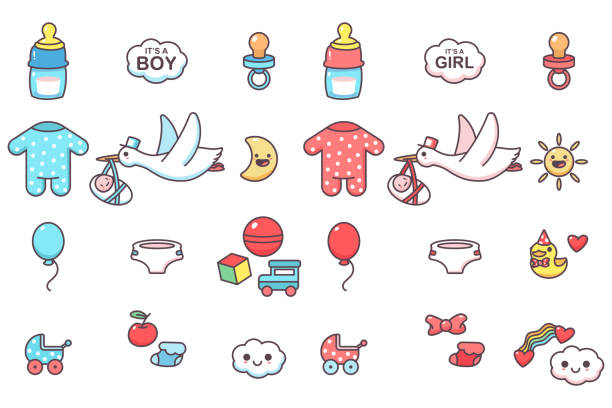 Cute kids elements for baby shower party vector cartoon set isolated on a white background. Baby shower vector cartoon set. bundle stock illustrations