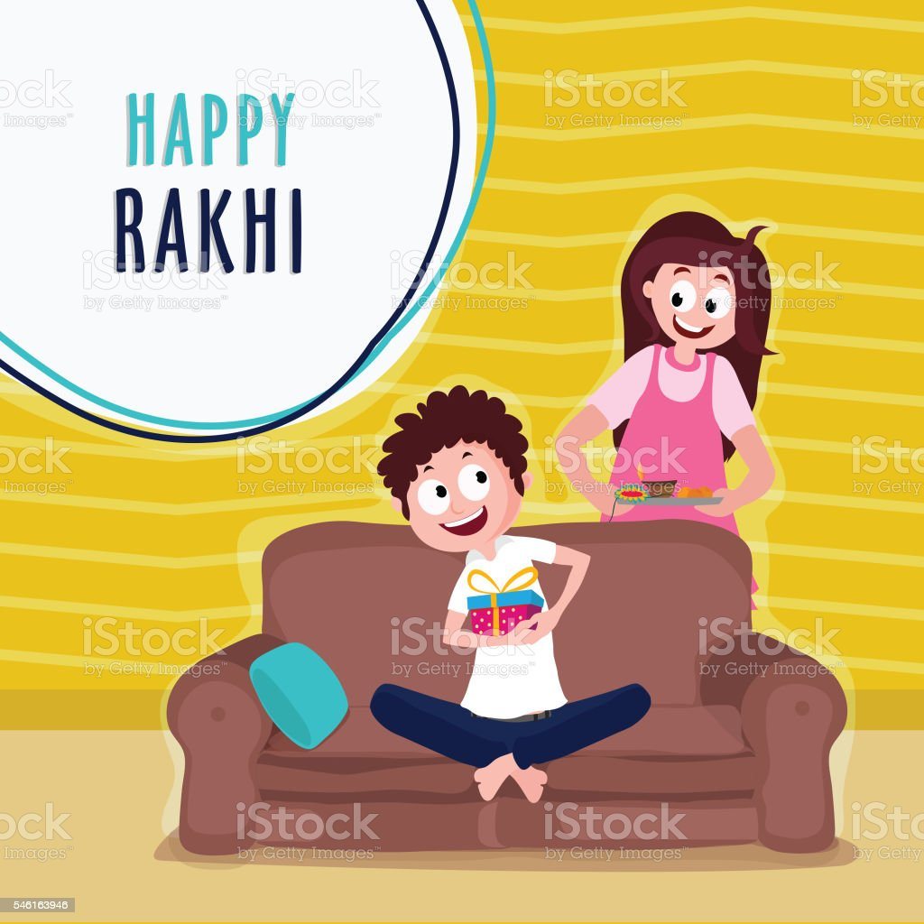 Cute Kids For Raksha Bandhan Celebration Stock Vector Art More