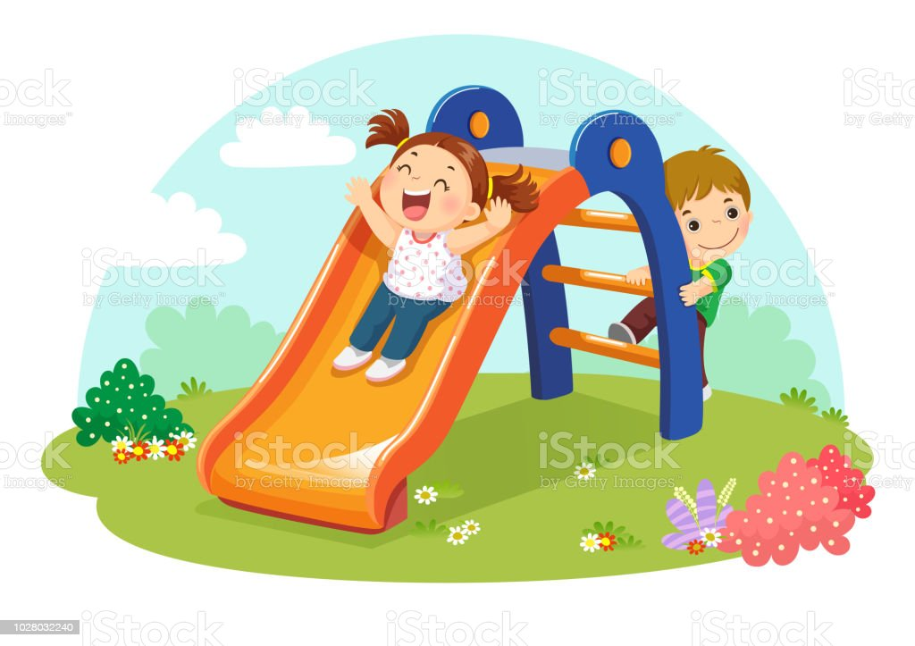 Cute kids having fun on slide in playground vector art illustration