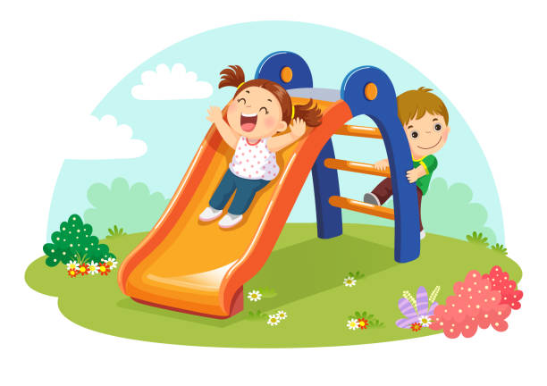 ilustrações, clipart, desenhos animados e ícones de lindos filhos se divertindo no slide no playground - deslize