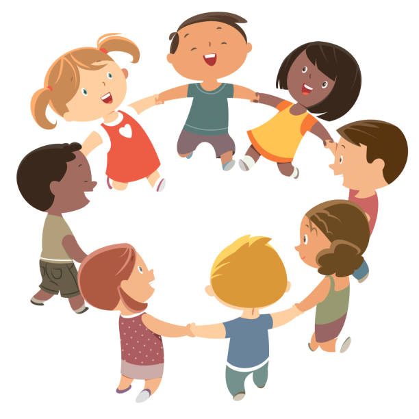 Cute kids holding hands and dancing Vector Cute kids holding hands and dancing children only stock illustrations