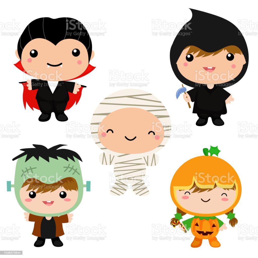 Cute Kids In Halloween Theme Costume Collection Royalty Free Cute Kids In Halloween Theme Costume