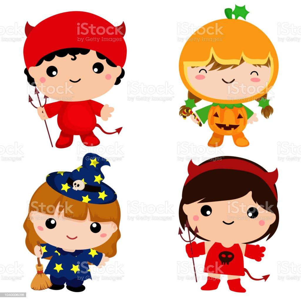 Halloween Thema.Schattige Kinderen In Halloween Thema Kostuum Instellen