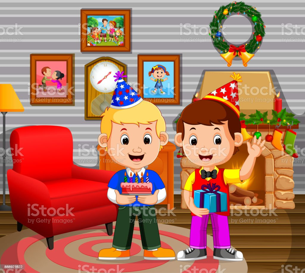 Cute Kids In The Living Room During Christmas Stock Vector Art