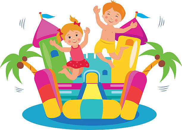 Cute Kids Jumping On A Bouncy Castle Set. vector art illustration