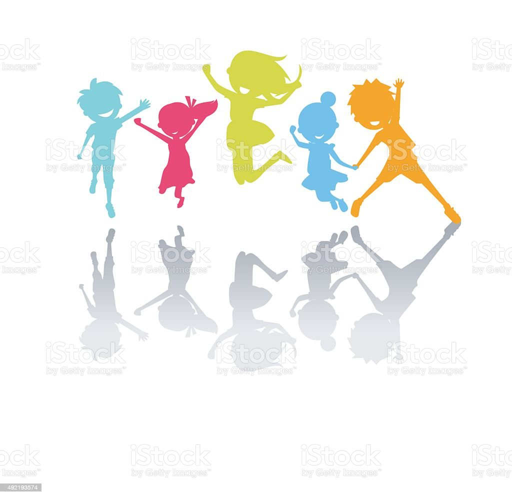 Cute kids jumping vector art illustration