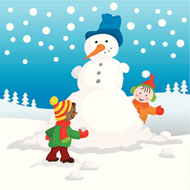 Cute kids making snowman vector art illustration