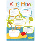Kids menu. Cute kids meal meny vector template with cartoon vegetables. Healthy food for child. Kids meny flyer with sea island and aborigine tomato, carrot, peas, broccoli, coconut. Menu design