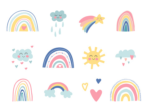 Cute kids nursery collection. Hand drawn rainbows, sun, funny clouds, stars, hearts. Sky background. Baby shower. Lovely cartoon rainbows for wallpaper, fabric, wrapping, apparel. Vector illustration