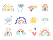 istock Cute kids nursery collection. Hand drawn rainbows, sun, funny clouds, stars, hearts. Sky background. Baby shower. Lovely cartoon rainbows for wallpaper, fabric, wrapping, apparel. Vector illustration 1225592490