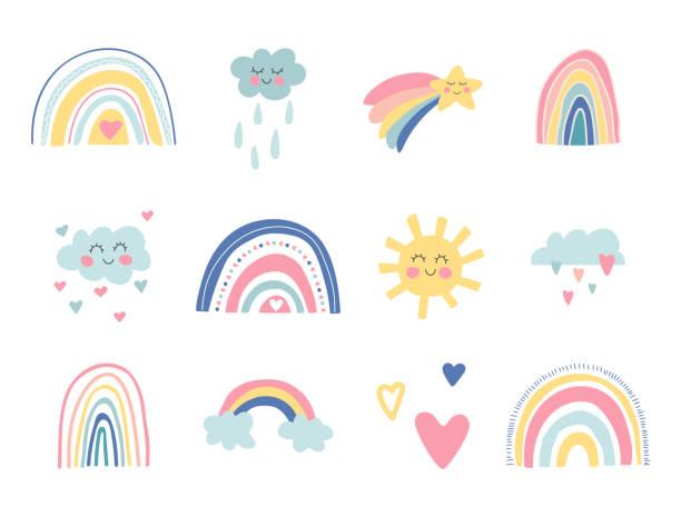 ilustrações, clipart, desenhos animados e ícones de coleção de berçário infantil fofo. arco-íris desenhados à mão, sol, nuvens engraçadas, estrelas, corações. fundo do céu. chá de bebê. lindos arco-íris de desenho animado para papel de parede, tecido, embrulho, vestuário. ilustração vetoria - arco íris