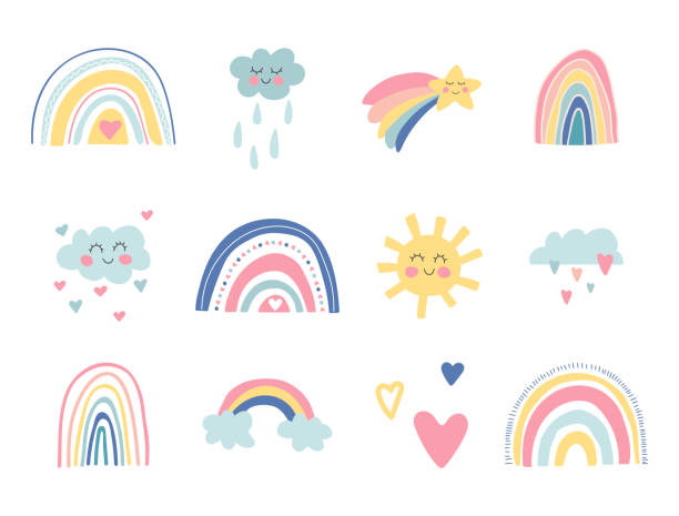 Cute kids nursery collection. Hand drawn rainbows, sun, funny clouds, stars, hearts. Sky background. Baby shower. Lovely cartoon rainbows for wallpaper, fabric, wrapping, apparel. Vector illustration Cute kids nursery collection. Hand drawn rainbows, sun, funny clouds, stars, hearts. Sky background. Baby shower. Lovely cartoon rainbows for wallpaper, fabric, wrapping, apparel. Vector illustration. rainbow stock illustrations