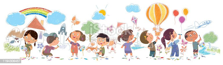 istock Cute kids painting and drawings on the wall 1194306457