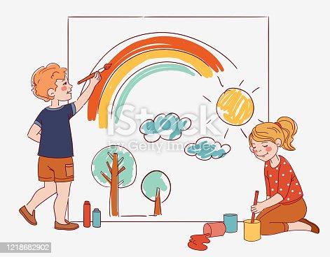 Cute kids painting rainbow on white board