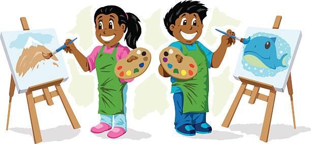 niedliche kinder malen - kunstunterricht stock-grafiken, -clipart, -cartoons und -symbole