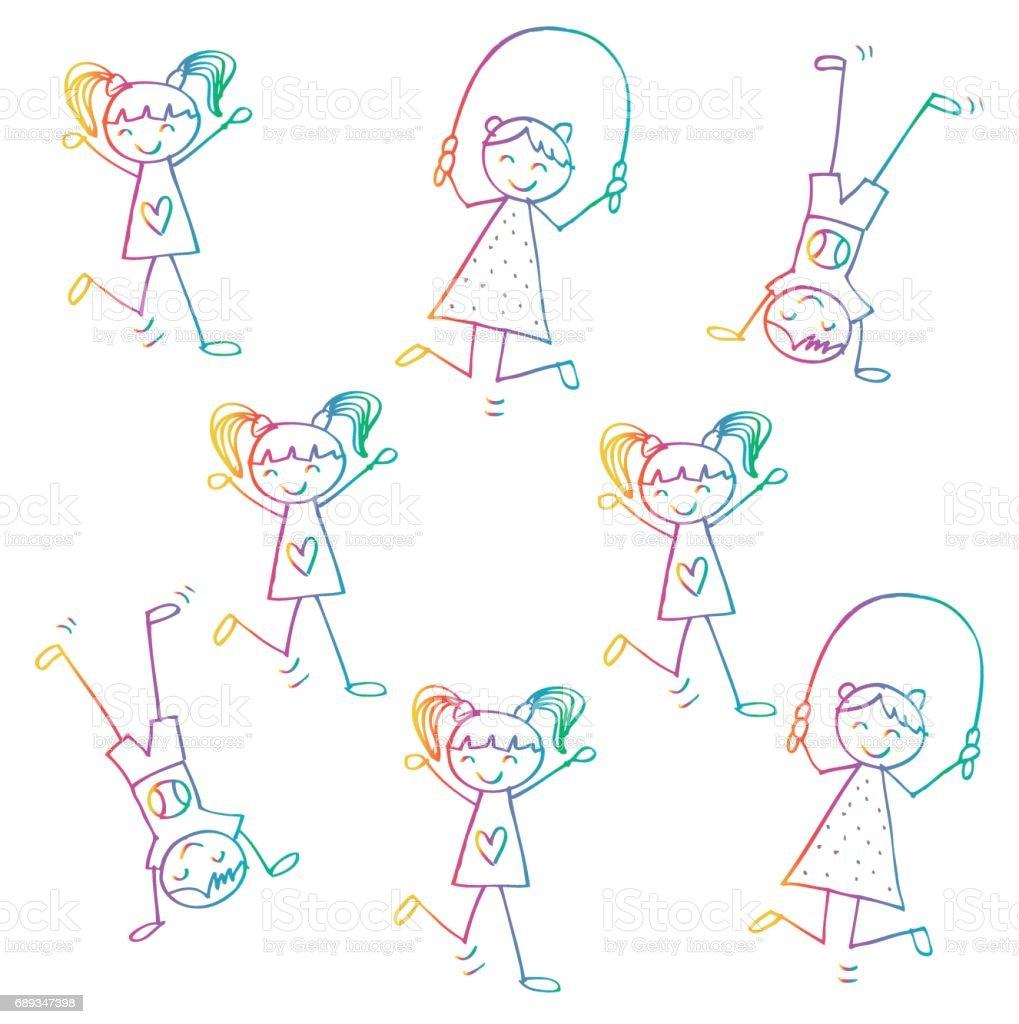 Cute kids playing. Cartoon style. vector art illustration